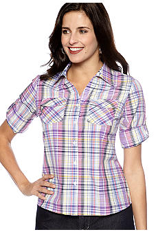 Kim Rogers® Petite Plaid Button-Up Shirt
