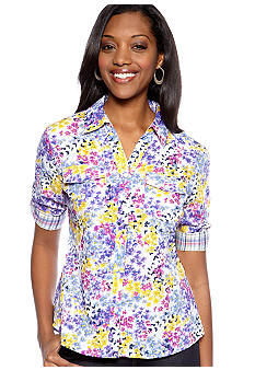 Kim Rogers® Petite Floral Button Up Shirt
