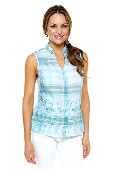 Kim Rogers Petite Plaid Button Down Top with Embroidery and Sequin Embellishment