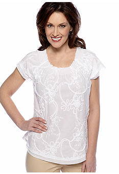 Kim Rogers Flutter Sleeve Solid Shirt With Embellishment