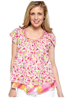 Kim Rogers Flutter Sleeve Two Tiered Print Top