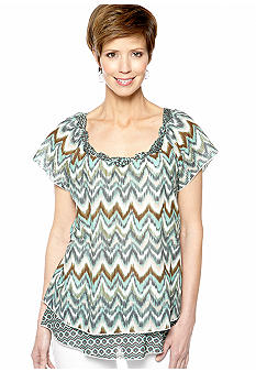 Kim Rogers Rose Scoop Neck Two Tiered Shirt