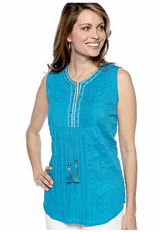 Kim Rogers Sleeveless Split Neck Crinkle Top