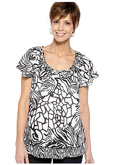 Kim Rogers Flutter Sleeve Two Tiered Shirt
