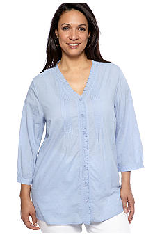 Kim Rogers Plus Size Pleated Front Ruffle Neck Blouse