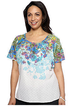 Kim Rogers Plus Size Short Sleeve Floral Yoke Peasant Top