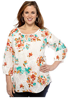 Kim Rogers Plus Size Tie Neck Printed Peasant Blouse