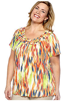 Kim Rogers Plus Size Flutter Sleeve Printed Blouse