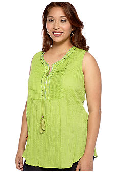 Kim Rogers Plus Size Pleated Bib Embroidered Split Neck Sleeveless Blouse