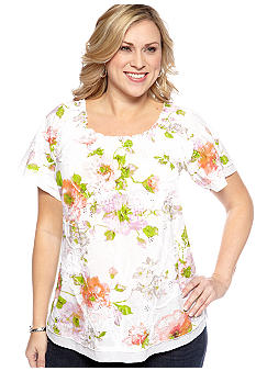 Kim Rogers Plus Size Floral Soutache Smocked Neck Blouse
