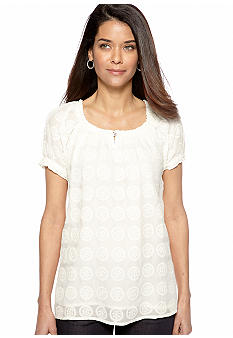 Kim Rogers Petite Embroidered Mesh Peasant Top