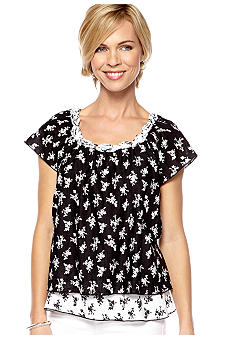 Kim Rogers Petite Two Tiered Printed Top with Rosette Trim