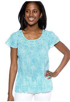Kim Rogers Petite Smocked Peasant Top with Flutter Sleeves