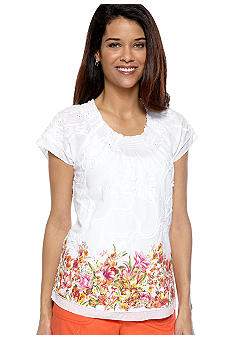 Kim Rogers Petite Printed Eyelet Top with Soutache Embellishment
