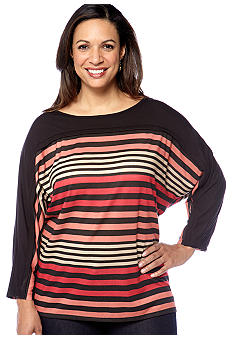 Kim Rogers® Plus Size Multi Stripe Dolman Sleeve Knit Top
