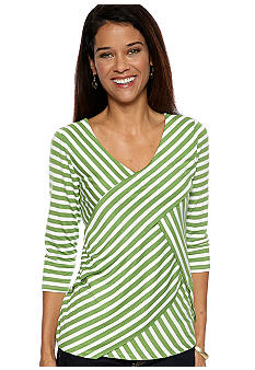Kim Rogers® Petite Criss Cross V-Neck Stripe Top