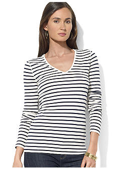 Lauren Jeans Co. Long-Sleeved Striped Cotton Jersey V-Neck Tee