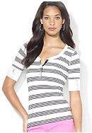 Lauren Jeans Co. Track-Striped Cotton Henley