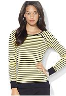Lauren Jeans Co. Zippered Striped Crewneck<br>