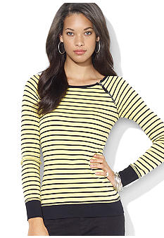 Lauren Jeans Co. Zippered Striped Crewneck