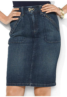 Lauren Jeans Co. Zip-Pocket Denim Skirt