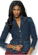 Lauren Jeans Co. Buttoned Denim Blazer