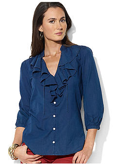 Lauren Jeans Co. Ruffled Cotton Shirt