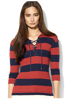 Lauren Jeans Co. Cotton Hooded Lace-Up Tee