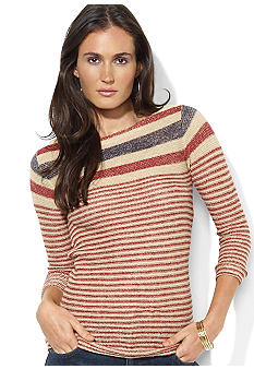 Lauren Jeans Co. Striped Linen Boatneck Top