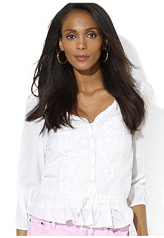 Lauren Ralph Lauren Three-Quarter-Sleeved Embroidered Cotton Top