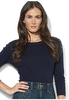 Lauren Jeans Co. Button-Shoulder Crewneck