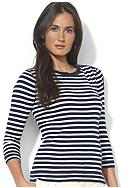 Lauren Jeans Co. Striped Button-Shoulder Crewneck