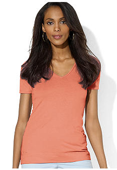 Lauren Jeans Co. Short-Sleeved Cotton Jersey V-Neck Tee