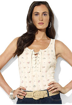 Lauren Jeans Co. Lace-Up Floral Cotton Tank