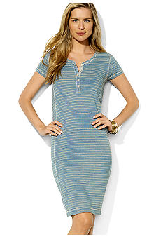 Lauren Jeans Co. Striped Cotton Chambray Dress