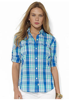 Lauren Jeans Co. Roll-Sleeve Plaid Workshirt