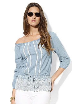 Lauren Jeans Co. Tie-Waisted Cotton Smocked Top