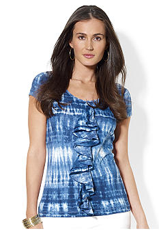 Lauren Jeans Co. Ruffled Cotton Tie-Dye Top