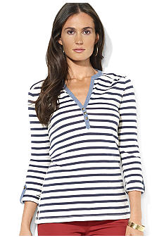 Lauren Jeans Co. Striped Cotton Henley