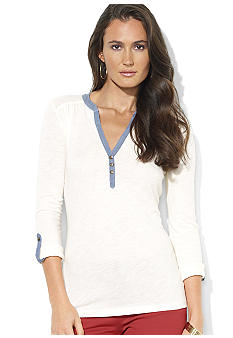 Lauren Jeans Co. Long-Sleeved Cotton Henley