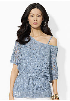 Lauren Jeans Co. Dolman-Sleeved Open-Knit Ballet-Neck Tunic