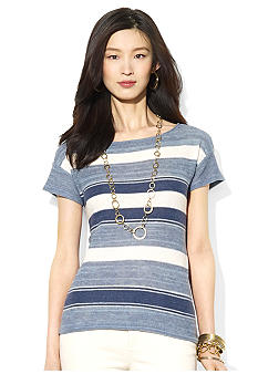 Lauren Jeans Co. Striped Cotton Linen Top