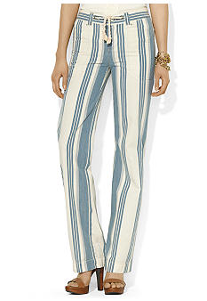 Lauren Jeans Co. Striped Wide-Leg Jean