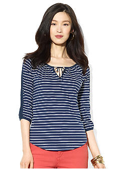 Lauren Jeans Co. Striped Three-Quarter-Sleeved Cotton Top
