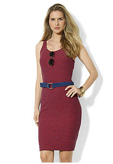 Lauren Jeans Co. Belted Striped Cotton Dress