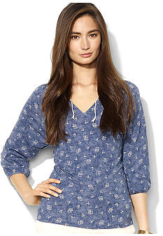 Lauren Jeans Co. Cotton Floral Peasant Top