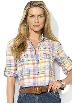 Lauren Jeans Co. Long-Sleeved Plaid Cotton Workshirt
