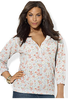 Lauren Jeans Co. Cotton Floral Smocked Top