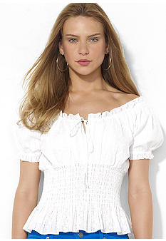 Lauren Jeans Co. Smocked Eyelet Cotton Top