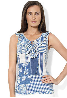 Lauren Jeans Co. Ruffled Lace-Up Cotton Top